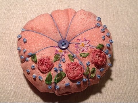 Tutorial: How to make a silk ribbon embroidered pin cushion