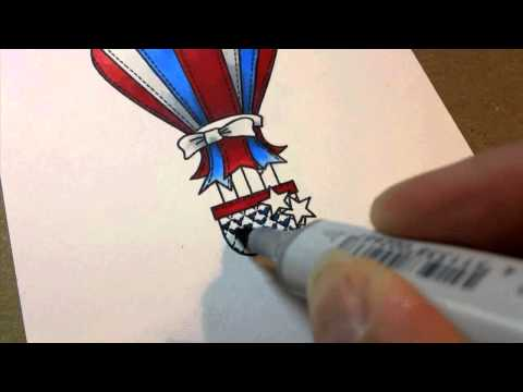 Grosgrain Ribbon Balloon - with Copics!