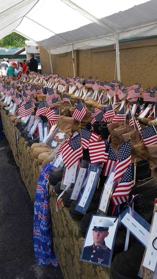 Our Memorial Boots Display  in Greeen Bay  2016