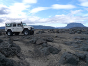 Driving through the lava, Herdubreid in background