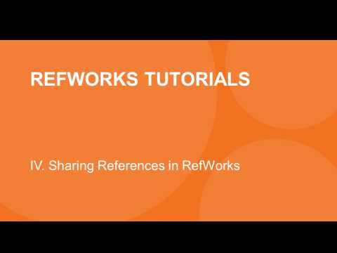 4.0 Introduction to Sharing References in RefWorks