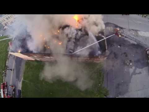 Detroit building fire at East Ferry Avenue and Chene - Detroit Drone aerial video