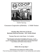 BHS Exhibit on the Berkeley Co-op, May 15
