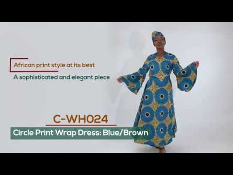 African print circle design wrap dress from Africa Imports