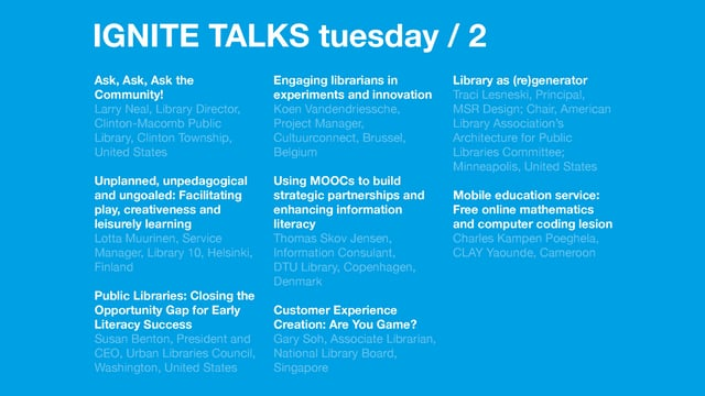 Tuesday Afternoon Ignite Talks /Next 2017