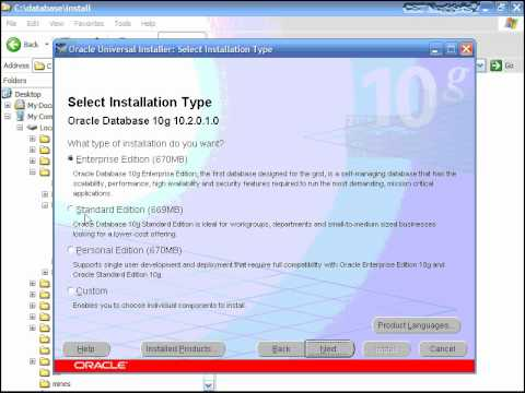 Oracle Installation and database creation