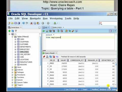 Oracle SQL Tutorial - Querying a table - Part 1