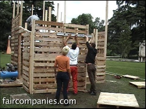 DIY, recycled pallet house with IKEA-style assembly instructions