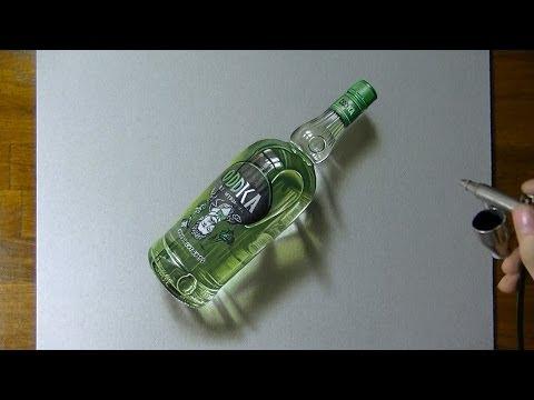 Drawing timelapse: a bottle of Oddka vodka - hyperrealistic art