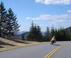 One of the first riders on the parkway