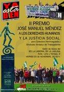 """Entrega del PREMIO """"JOSÉ MANUEL MÉNDEZ"""" AL COLECTIVO HARIMAGUADA Y AL SINDICATO ANDALUZ DE TRABAJADORES"""