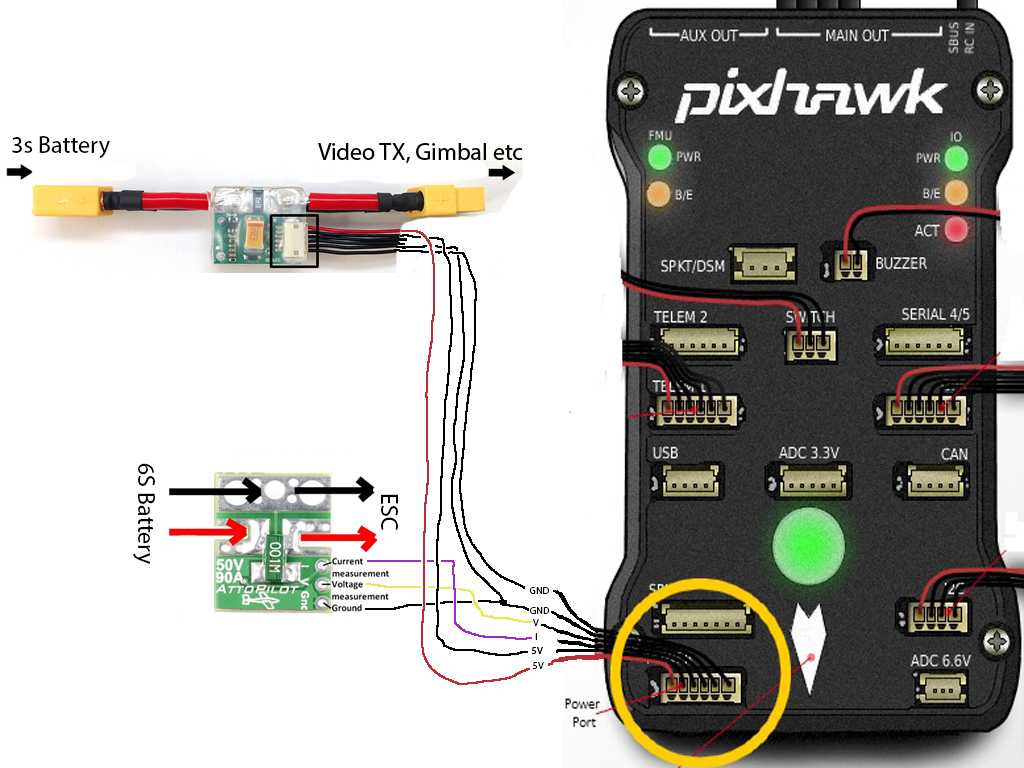 how to guide pixhawk with 6s batteries (\u003e 4s) \u2013 diy dronesi wired it like this and it works just fine