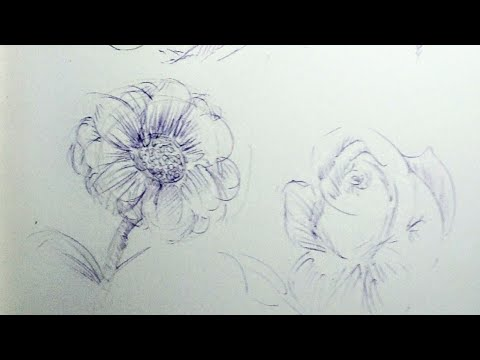 Drawing flowers with ink pens