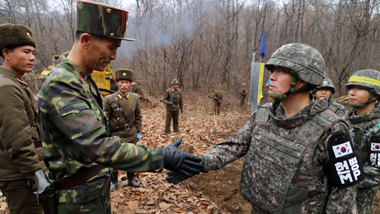 North And South Korean Soldiers Shake Hands At Border - MSM Silent