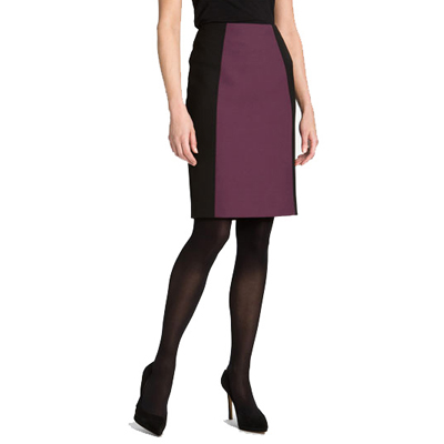 Purple and Black Color Block Pencil Skirt