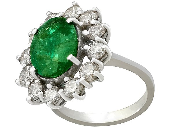 4.82 ct Emerald and 3.12 ct Diamond, 18 ct White Gold Cluster Ring - Vintage Circa 1990