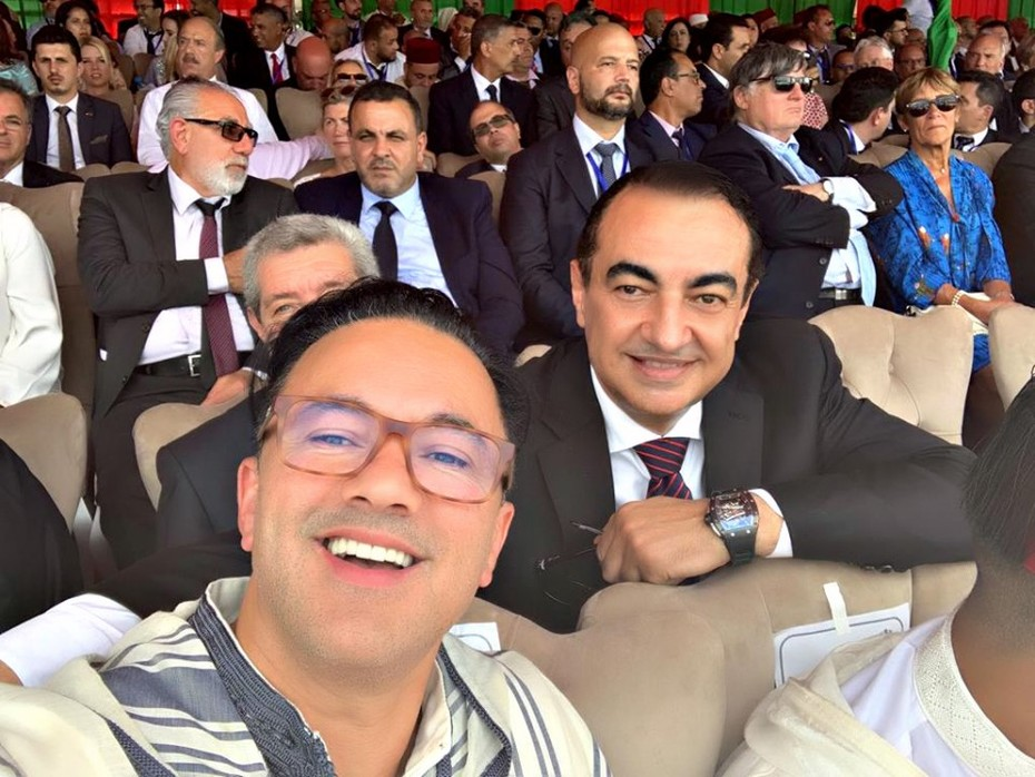 """Mohamed Dekkak and Nadir Hayat famous by his stage """"RedOne"""" (Record producer, singer, songwriter record executive) during the traditional allegiance ceremony in commemoration of the 20th anniversary o"""