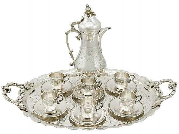 Turkish Silver Coffee Service with Tray - Antique Circa 1900