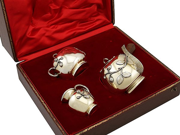French Silver Three Piece Tea Service - Antique Circa 1880