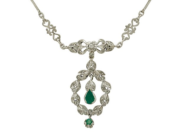 0.56ct Emerald and 1.02ct Diamond, 18ct White Gold Necklace - Vintage Circa 1950