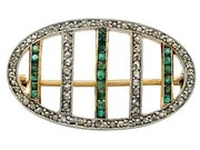 0.22 ct Emerald and 0.39 ct Diamond, 18 ct Yellow Gold Brooch - Antique Circa 1910