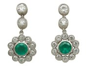 0.83 ct Emerald and 1.82 ct Diamond, 18 ct White Gold Drop Earrings - Antique Circa 1930