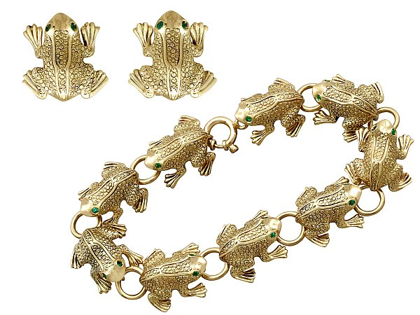 0.66ct Emerald and 18ct Yellow Gold 'Frog' Jewellery Set - Vintage Italian Circa 1980
