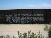 Minuteman quote on Border Fence near Campo, Ca. 2005