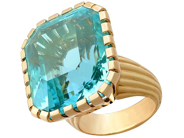 46.22ct Aquamarine and 18ct Yellow Gold Dress Ring - Vintage French Circa 1960
