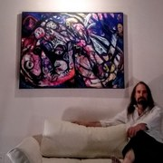 "Photo of Artist, Daithi with painting, ""Yell."""