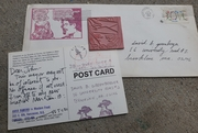 Anna Banana 1982 letter and postcard, and original rubber stamp