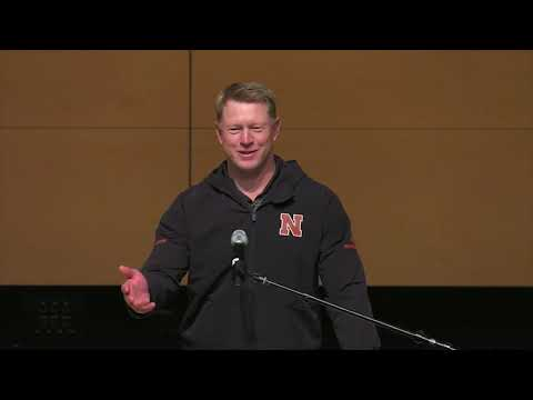 Scott Frost speaks to US Strategic Command and Team Offutt
