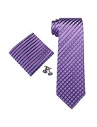 Men's Dark Purple Checks 100% Silk Neck Tie Set Cufflinks & Hanky