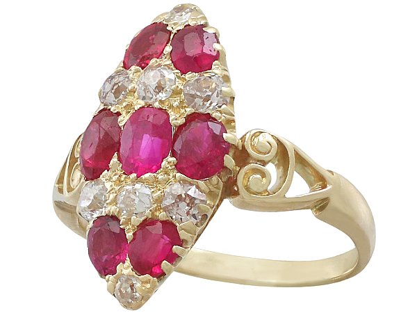 1.82 ct Ruby and 0.57 ct Diamond, 18 ct Yellow gold Marquise Ring - Antique Circa 1900