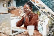 woman computer watercolor