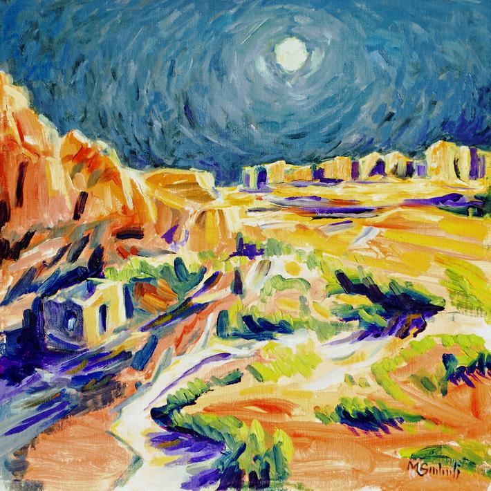 Chaco Canyon under the Sturgeon Moon