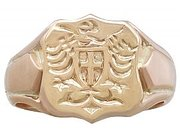 9ct Yellow Gold Gent's Signet Ring - Antique 1915