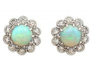 1.65ct Opal and 0.32ct Diamond, 18ct Yellow Gold Cluster Earrings - Antique Circa 1910