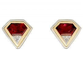 4.82ct Pink Tourmaline and 0.59ct Diamond, 18ct Gold Earrings - Vintage Italian Circa 1980