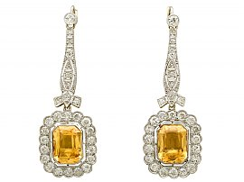 9.52ct Citrine and 4.55ct Diamond, 18ct Yellow Gold Drop Earrings - Antique Circa 1930