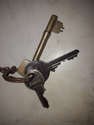 Keys on brown fob