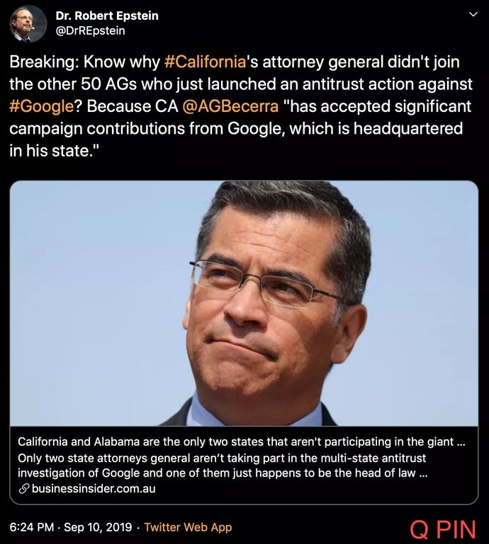 This is why California's AG didn't join the antitrust action against google