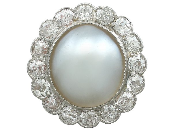 Mabe Pearl and 1.90 ct Diamond, Platinum Cluster Ring - Antique Circa 1930