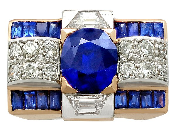 3.72ct Sapphire and 1.20ct Diamond, 18ct Rose Gold Dress Ring - Art Deco - Vintage Circa 1940