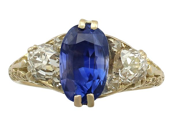 3.11 ct Sapphire and 0.90 ct Diamond, 18 ct Yellow Gold Trilogy Ring - Antique Victorian