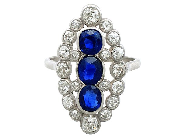 1.77 ct Sapphire and 1.86 ct Diamond, Platinum Marquise Dress Ring - Antique Circa 1920