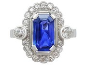 3.29 ct Ceylon Sapphire and 0.82 ct Diamond, 18 ct White Gold and Platinum Dress Ring - Vintage Circa 1950