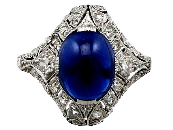 5.21ct Sapphire and 0.45ct Diamond, Platinum Dress Ring - Antique Circa 1930