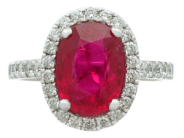 3.75 ct Ruby and 0.48 ct Diamond, 18 ct White Gold Cluster Ring - Vintage Circa 1990
