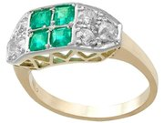 0.45ct Emerald and 0.95ct Diamond, 18ct White Gold Dress Ring - Vintage French Circa 1990
